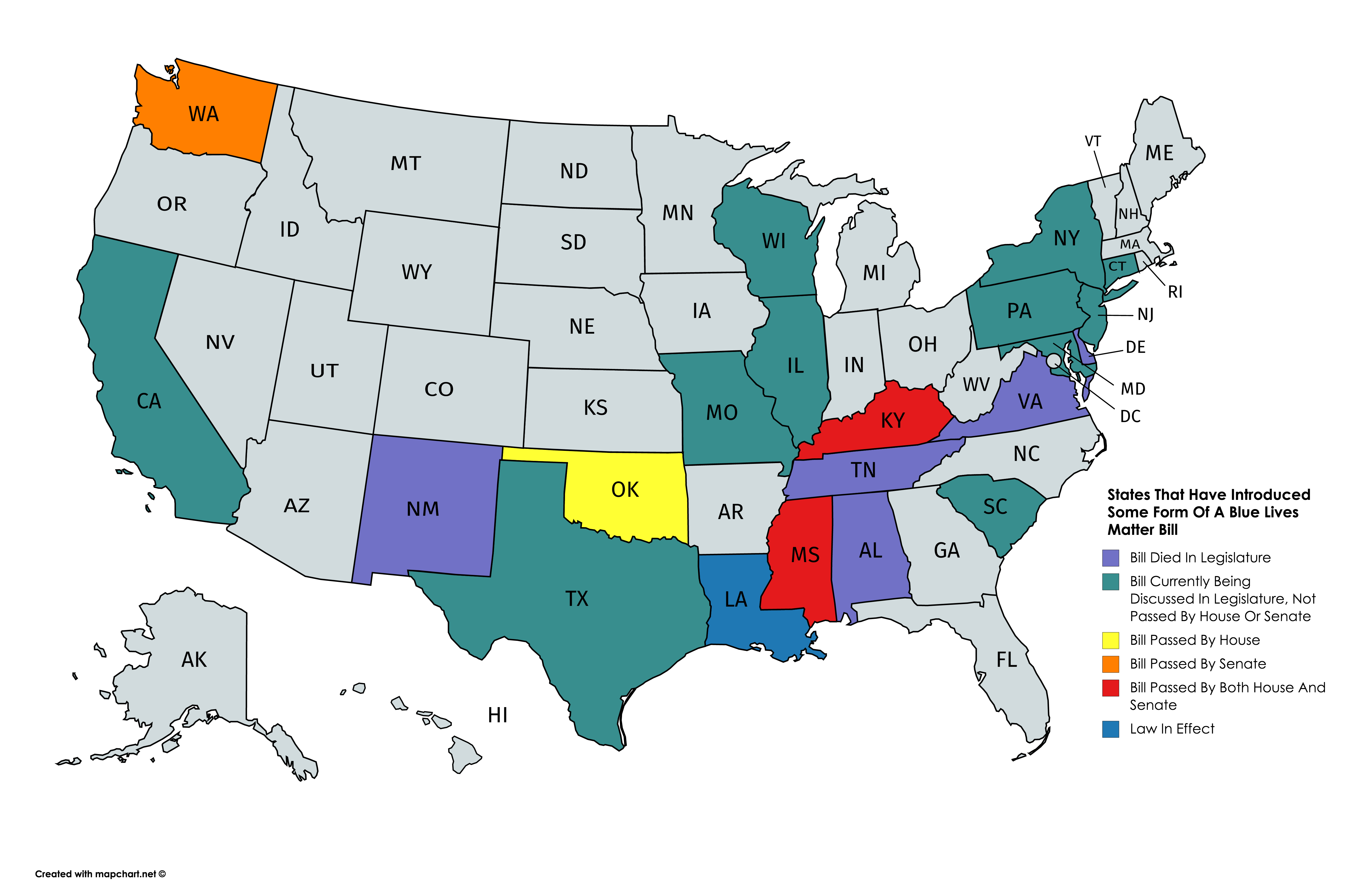 States That Have Introduced Some Form Of A Blue Lives Matter Bill (1)