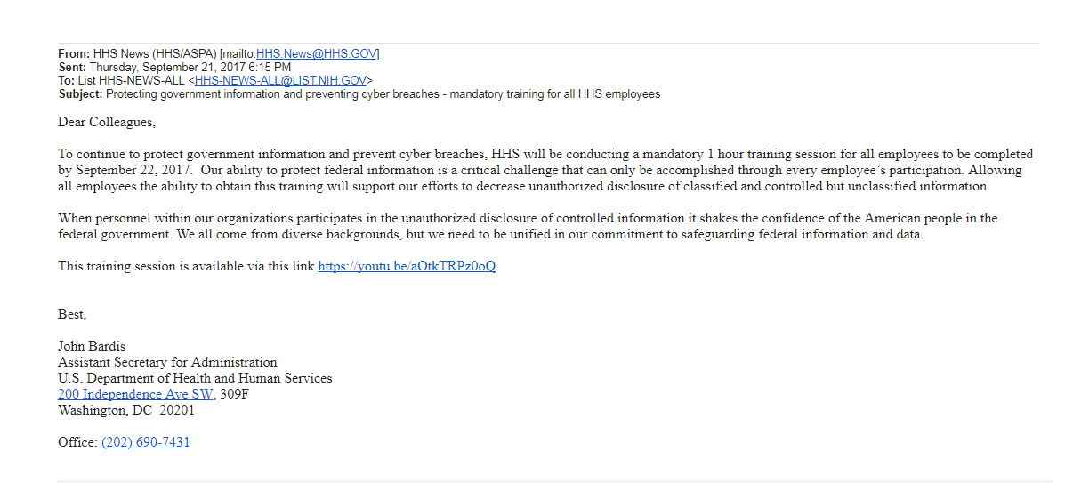 HHS video email
