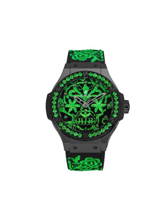Hublot - Big Bang Broderie Sugar Skull Fluo in malachite green_preview