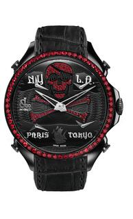 Jacob & Co Palatial Five Time Zone Pirate Black PVD with Rubies