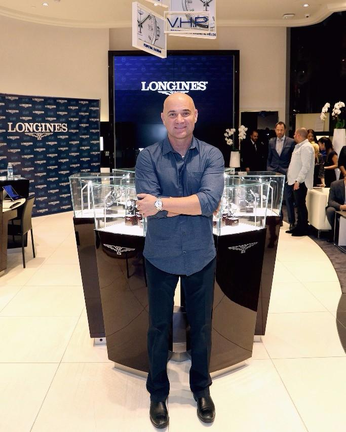 Tennis champion Andre Agassi, in Longines store