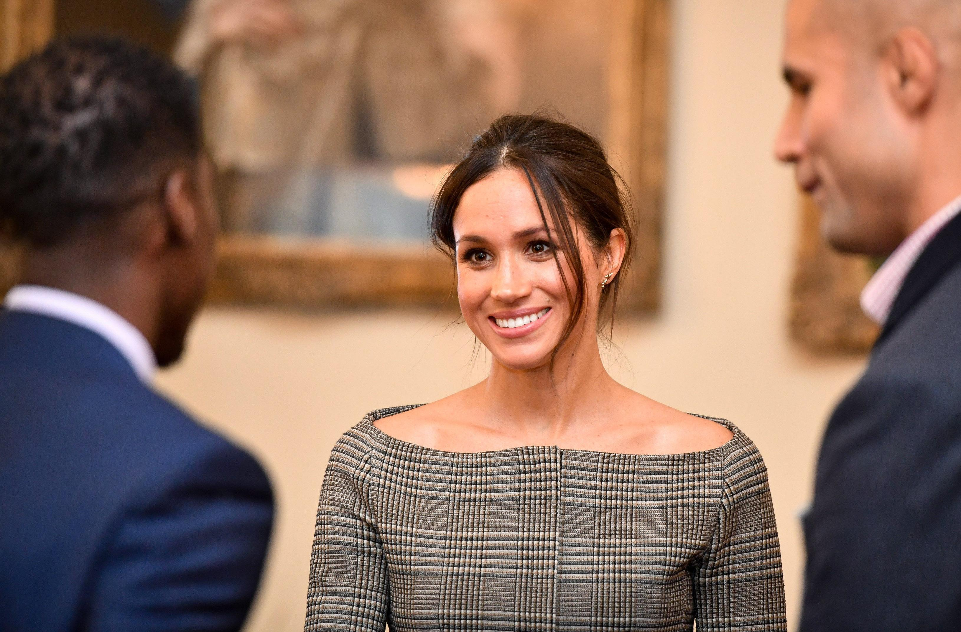 Meghan Markle Wears Chic Pantsuit For First Evening Engagement With Prince Harry