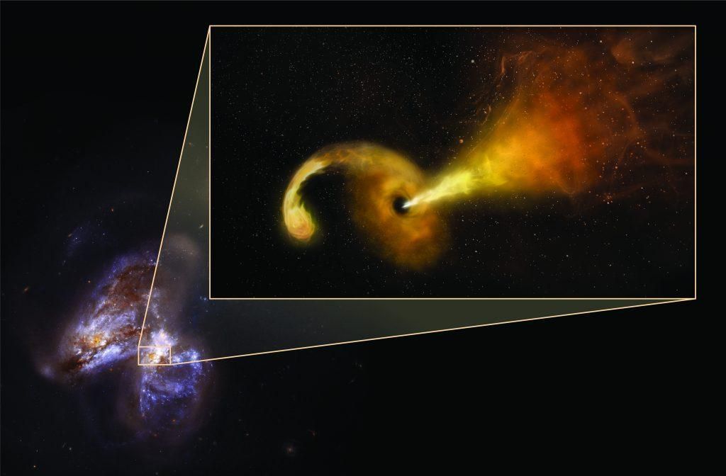 Jets of material from black hole
