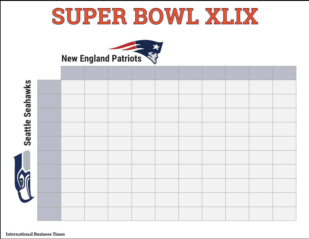 Super Bowl 2015 Squares: Printable Boxes Document For ...