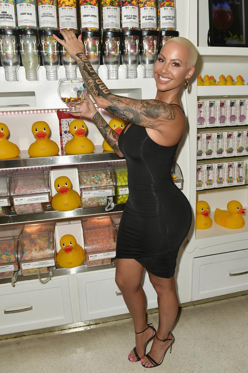 Amber Rose Unrecognizable In Long Black Wig During Blac