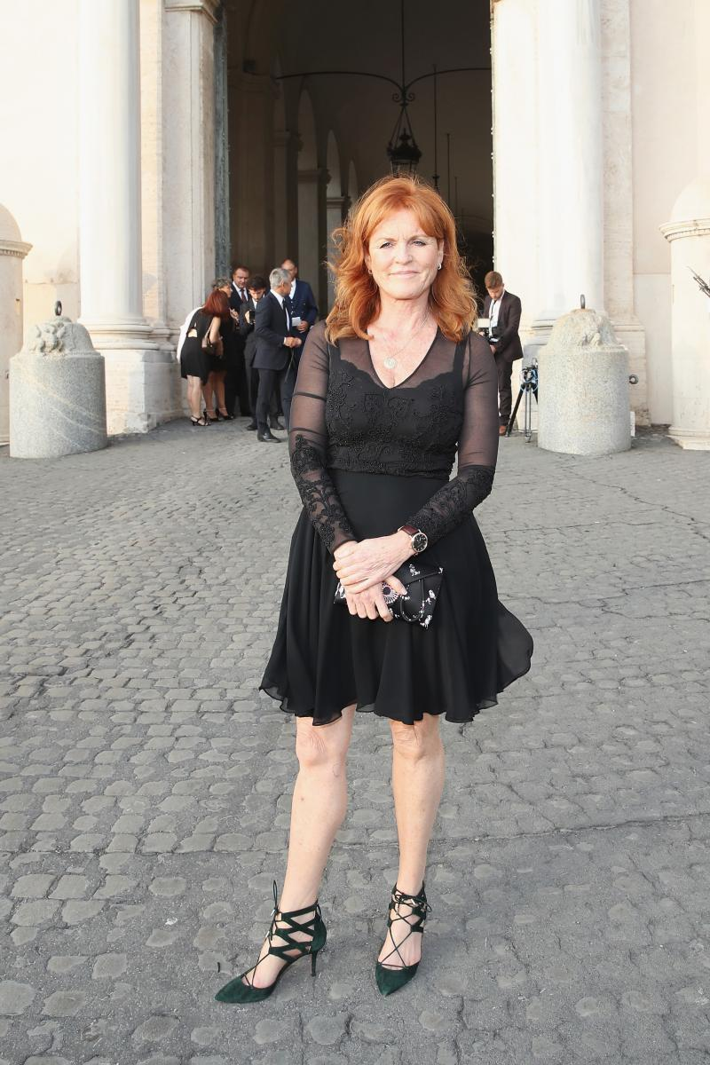 Sarah Ferguson wears a turquoise evening dress in Rome for