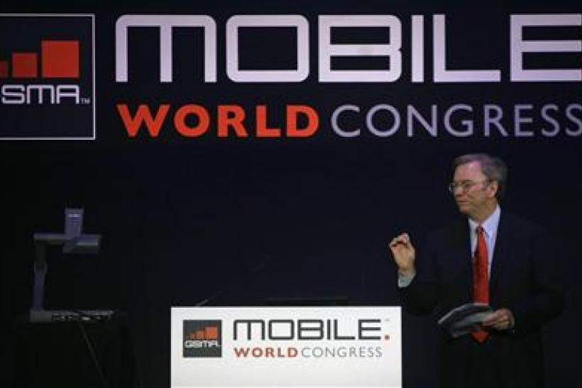 Google CEO Schmidt speaks at the Mobile World Congress in Barcelona