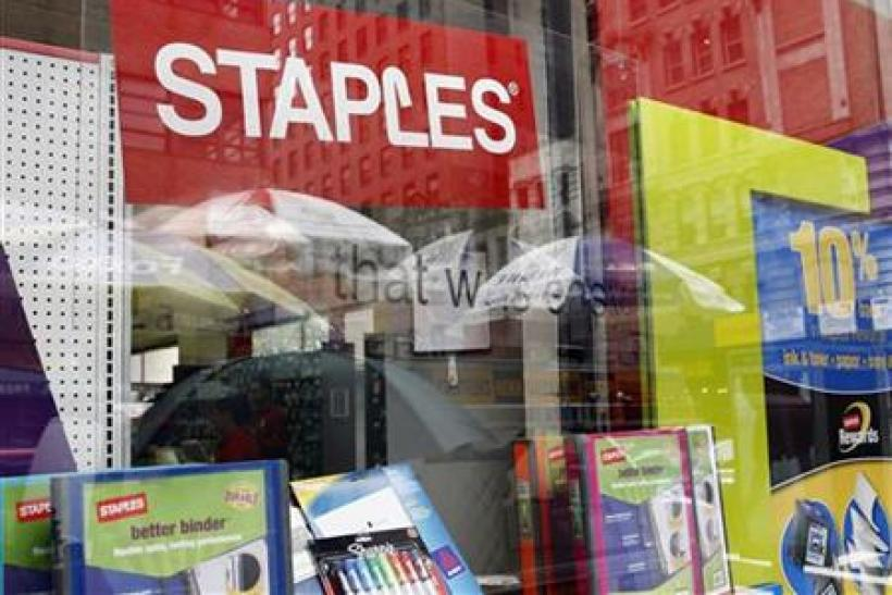 A Staples store display window is pictured in New York