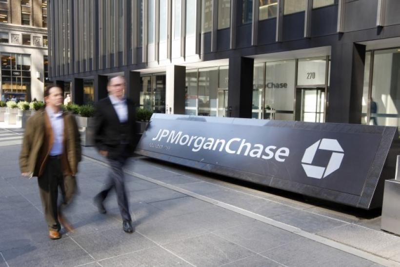 People walk past the JPMorgan Chase & Co building in New York