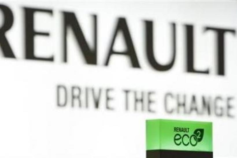 French car manufacturer Renault's eco2 seal of environmental performance is shown at the company's exhibition stand during the first media day of the 80th Geneva Car Show at the Palexpo in Geneva March 2, 2010.