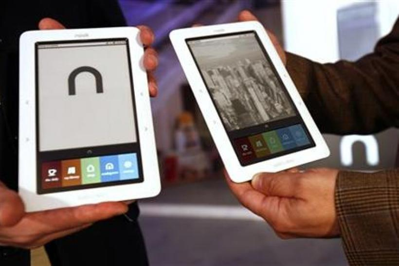 The Barnes & Noble nook, a Wireless eBook Reader, is seen during a news conference in New York