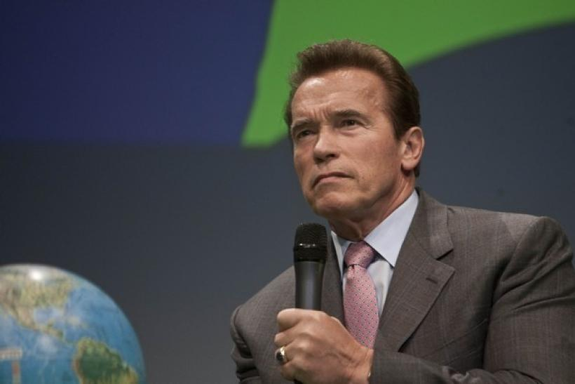 Arnold Schwarzenegger, governor of the state of California, listens to a question