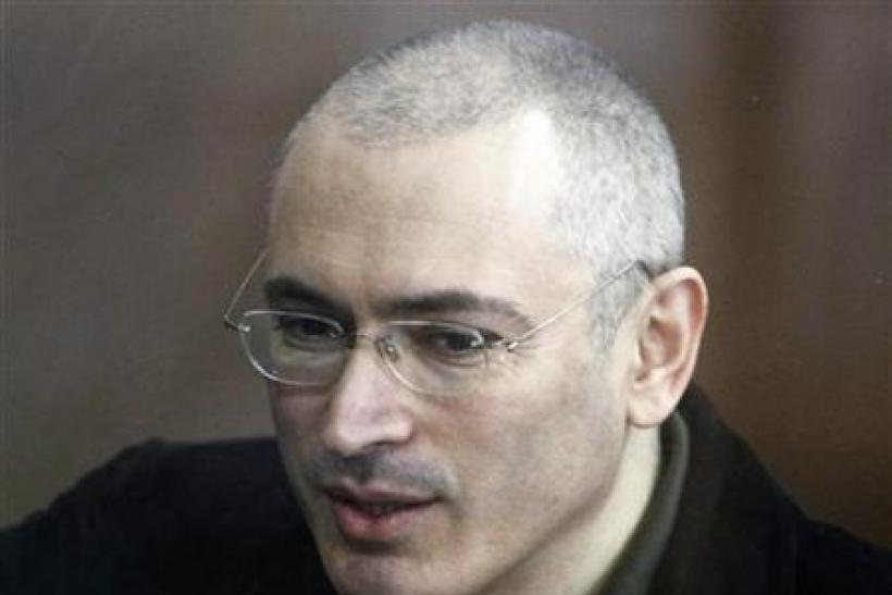 Jailed former Russian oil tycoon Mikhail Khodorkovsky attends a court session in Moscow