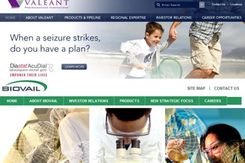 A combination image showing the corporate homepages of Valeant Pharmaceuticals International and (bottom) Biovail Corp