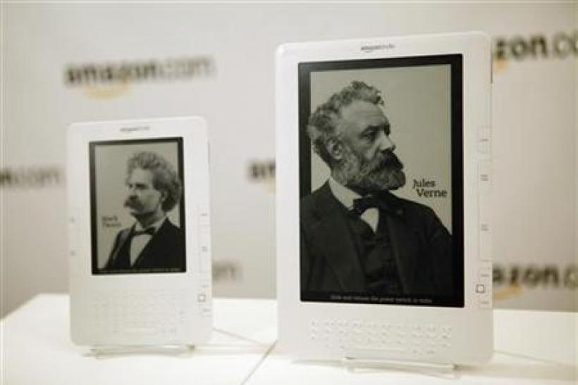 The new Kindle DX electronic reader and Kindle 2 are displayed at a news conference where the device was introduced in New York
