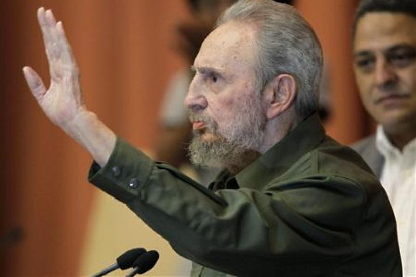 Former Cuban leader Fidel Castro gestures during the National Assembly in Havana