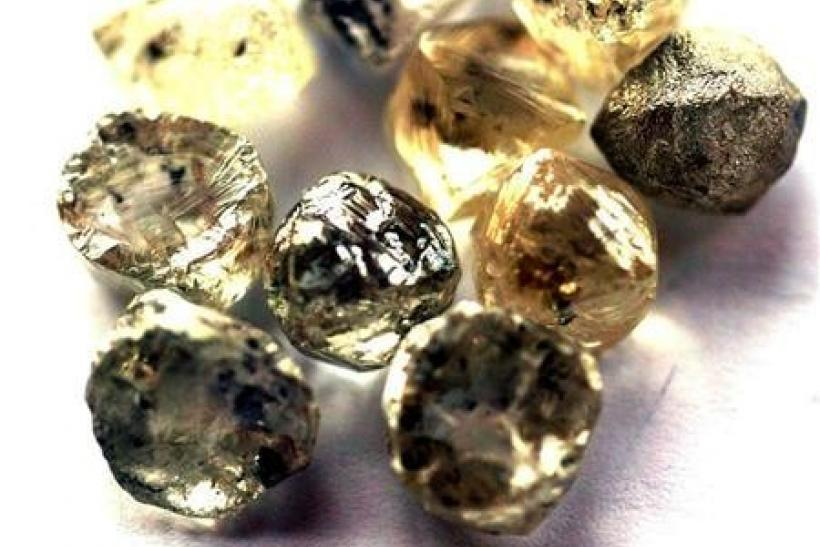 Rough diamonds are displayed at the Botswana Diamond Valuing Company in Gaborone