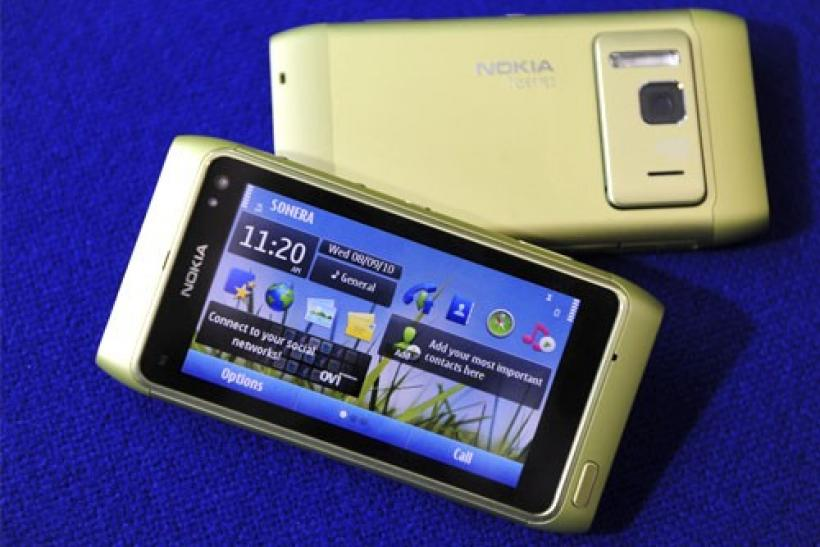 The new Nokia N8 smartphone is displayed in Espoo, Finland