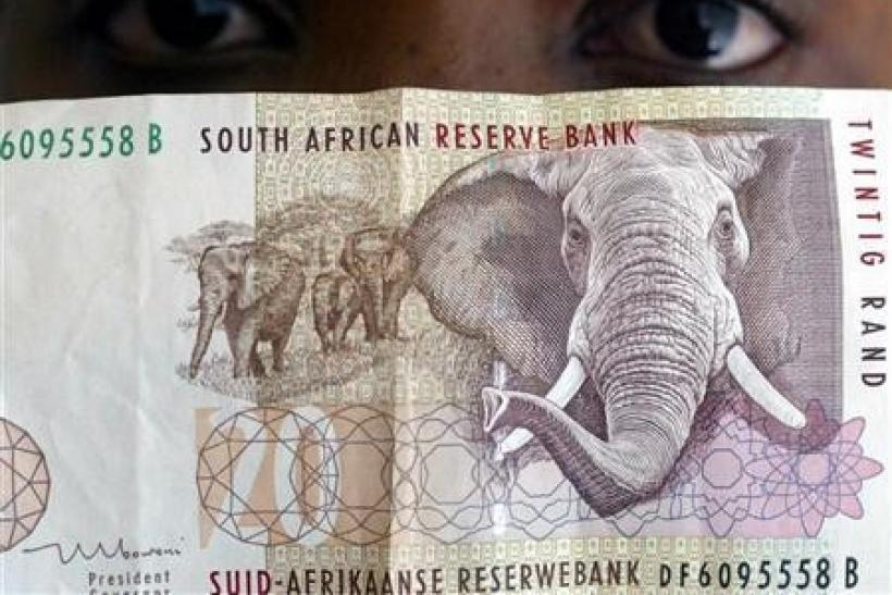 A file picture shows the South African twenty rand note.