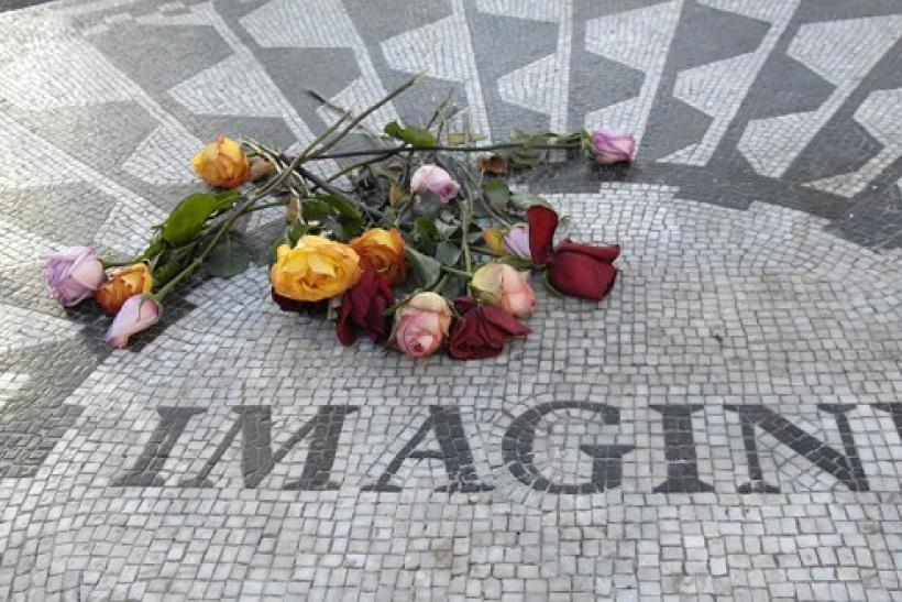 A tile mosaic memorializing John Lennon is seen in the Strawberry Fields section of Central Park, New York