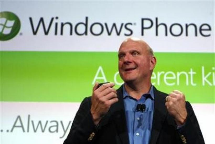 Microsoft CEO Steve Ballmer speaks during the Windows Phone 7 launch in New York