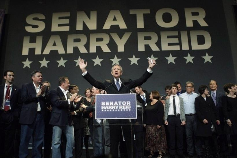 U.S. Senate Majority Leader Harry Reid, who faced Tea Party favorite Republican Sharron Angle in his race for re-election, celebrates his victory at his election night party in Las Vegas, Nevada, November 2, 2010.