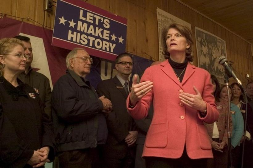 Sen. Lisa Murkowski speaks at a campaign rally in October.