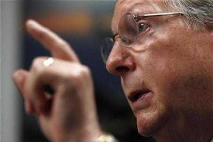 Senate Minority leader Mitch McConnell (R-KY) speaks during an interview with Reuters in Washington, August 2, 2010.