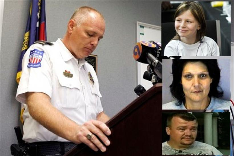 Hickory Police Chief Tom Adkins and (inset right, clockwise from top) Zahra Baker, step-mother Elisa Baker and father Adam Baker. Adkins said, Friday, November 12, 2010, that the human remains found by the police earlier this month are of Zahra Baker