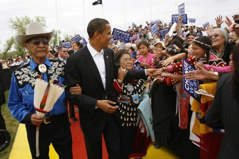 "Then US Democratic presidential candidate and US Senator Barack Obama, (D-IL), arrives with Hartford and Mary Blackeagle, his new Crow ""parents"" who adopted him as a member of the Crow nation, for a campaign rally in Crow Agency, Montana May 19,"
