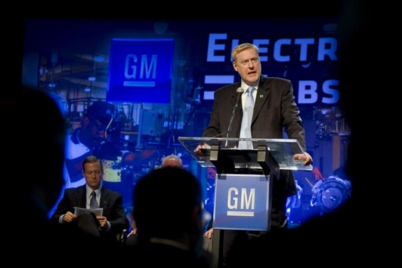 General Motors Vice Chairman Tom Stephens speaks in Baltimore, Maryland