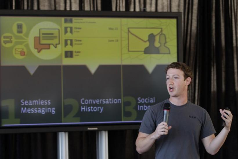 Facebook CEO Mark Zuckerberg speaks at a news conference where he unveiled a new messaging system in San Francisco
