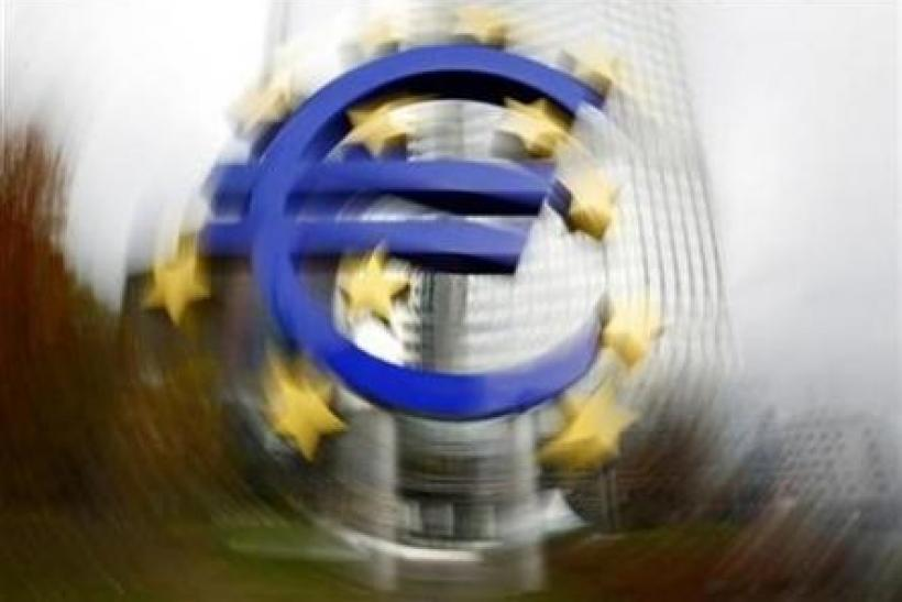 A large euro sign installation is seen in front of the European Central bank (ECB) headquarters