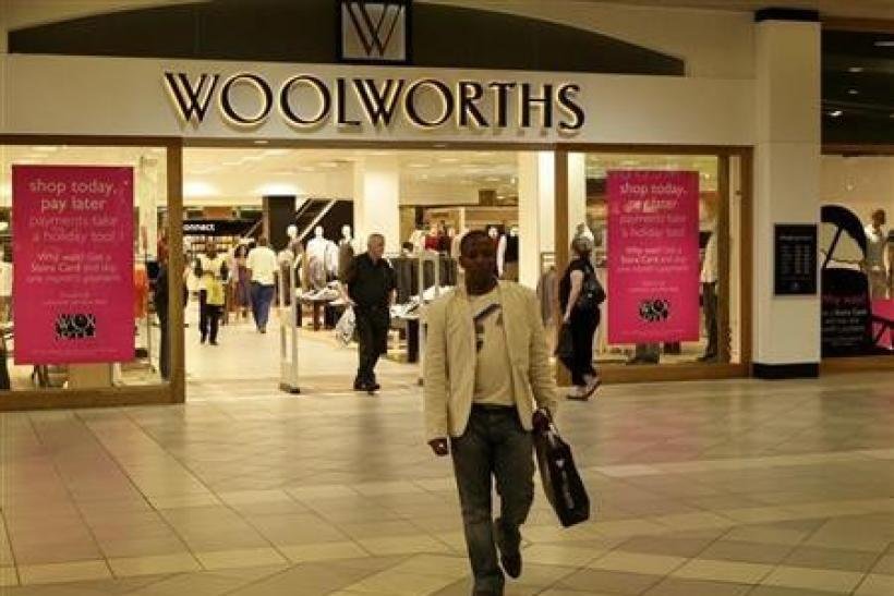 A man leaves a Woolworths shop in Sandton, northern Johannesburg,