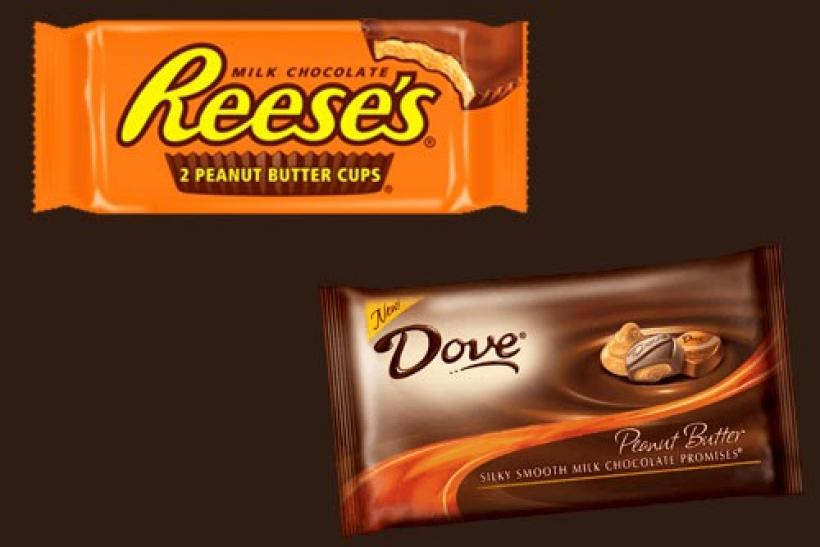 An image combination showing Hershey Reese's peanut butter chocolate candy (top left) and Mars Dove peanut butter chocolate Promise squares