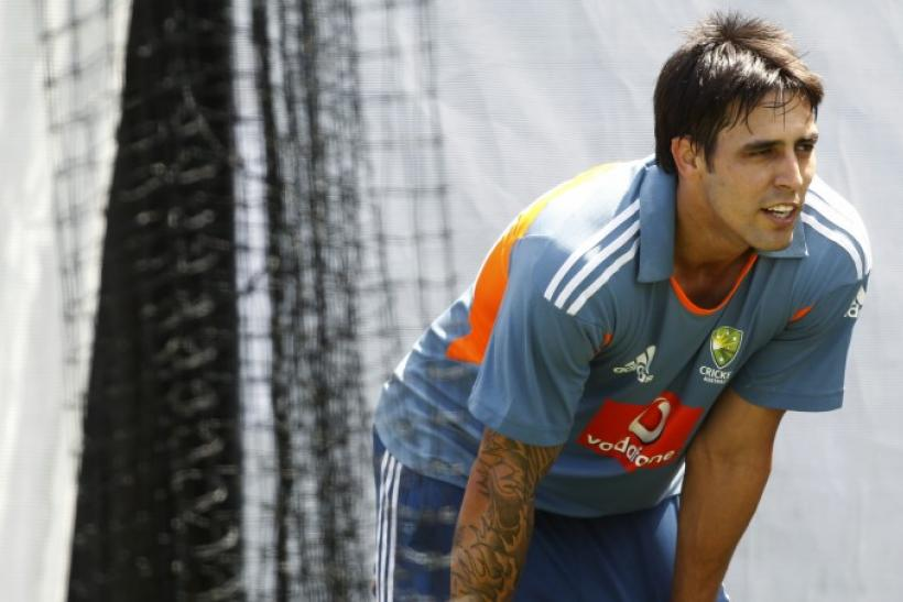 Australia's Johnson is seen at a cricket training session at the Adelaide Oval.