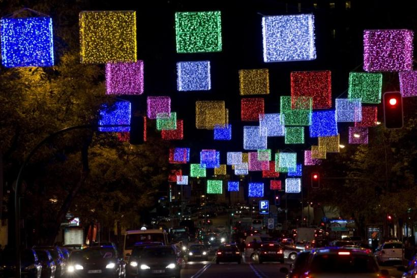 Christmas lights illuminate a central street in Madrid, Spain
