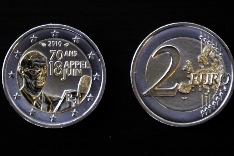 "View of a 2 Euro coin which commemorates the 70th anniversary of General Charles de Gaulle's call for resistance by the French citizens, is seen at the ""Monnaie de Paris"" factory in Pessac"