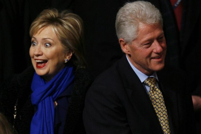 The Clintons arrive for the inaugural service at the National Cathedral in Washington