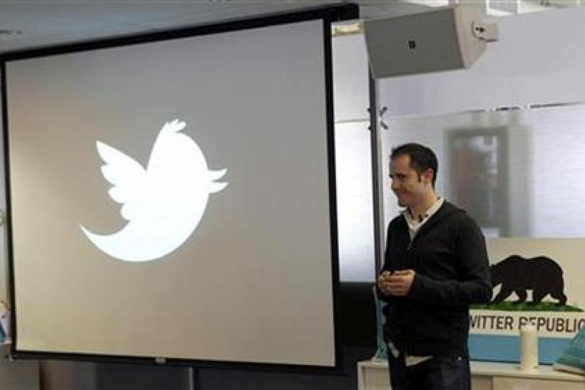 Former Twitter CEO Evan Williams speaks at a news conference in San Francisco