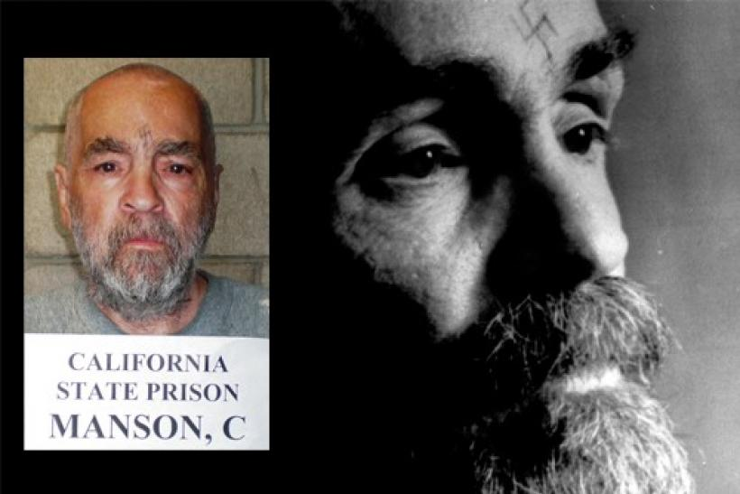 Charles Manson talks during an interview August 25, 1989 and (inset) a handout image of Manson released March 18, 2009 from Corcoran State Prison in California