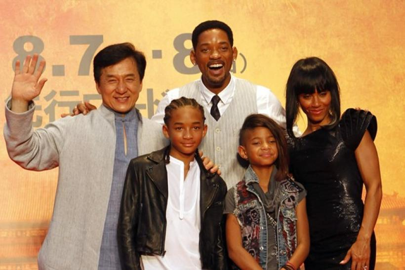 "Chinese actor Jackie Chan poses with U.S. actor and producer Will Smith and his son Jaden, daughter Willow and wife Jada Pinkett Smith (L-R) at Japan premiere of ""The Karate Kid"" in Tokyo"