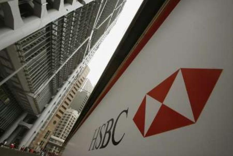 A HSBC signage is displayed outside the HSBC headquarters in Hong Kong