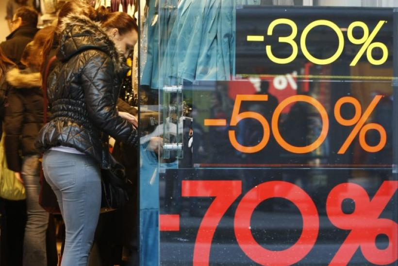 People enter a shop during winter sale in Hamburg