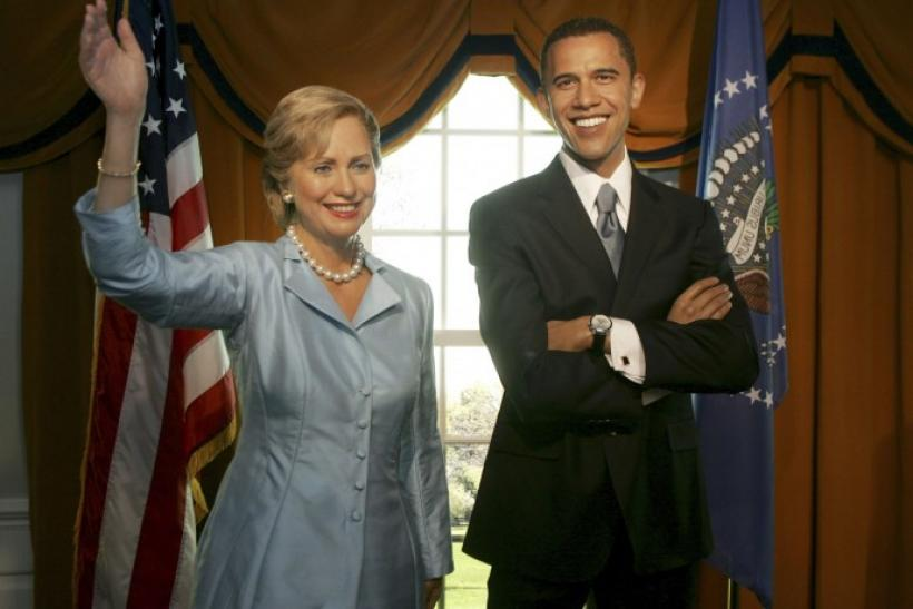 Lifelike wax figures of Senator Barack Obama and Hillary Clinton on display at Madame Tussauds in Washington