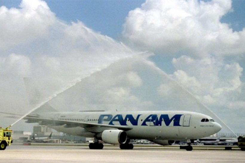 A Pan American aircraft is given a water salute
