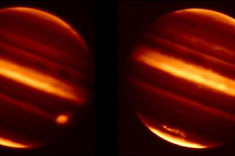 Particle debris in Jupiter's atmosphere is seen after an object hurtled into the atmosphere on July 19, 2009, in these infrared images obtained from NASA's Infrared Telescope Facility in Mauna Kea, Hawaii, and released by NASA January 26, 2011.