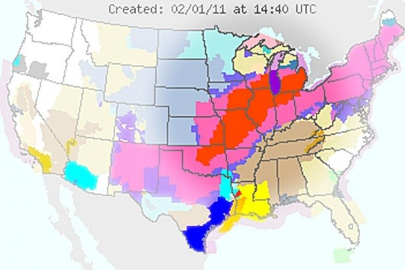 A map provided by the National Weather Service on Tuesday, February 1, 2011, shows blizzard like conditions (red) expected from Oklahoma and stretching to the Great Lakes region.