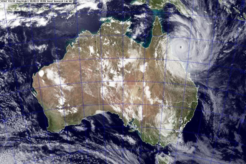 A satellite image shows Cyclone Yasi approaching the coast of Australia