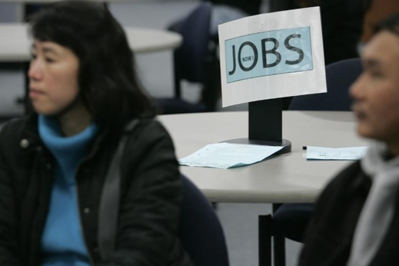 Job seekers visit employment center in San Francisco- file photo